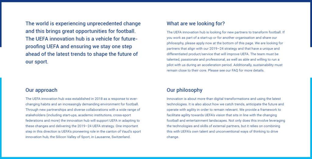 Quels objectifs pour le Hub Innovation de l'UEFA ?