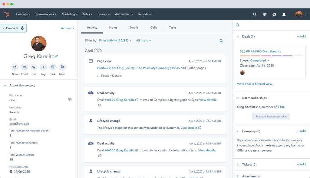 HubSpot suivi fiche clients